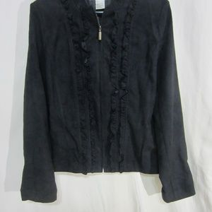 REQUIREMENTS SZ LARGE BLACK RUFFLED FRONT JACKET
